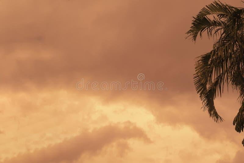 Brennender orange Himmel vor starkem Regen lizenzfreies stockbild