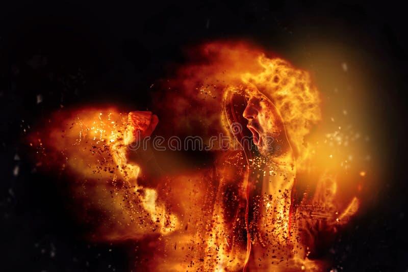 Brennender Protestierender schreit an der Aufstand-Tat stockfotos
