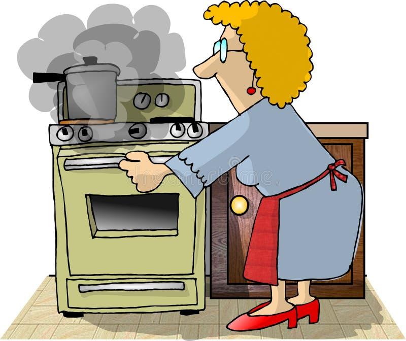 Download Brennendes Abendessen stock abbildung. Bild von karikatur - 48807