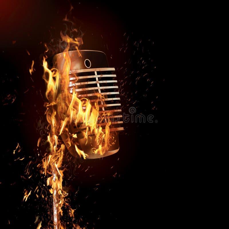 Brennendes altmodisches Mikrofon lizenzfreie abbildung
