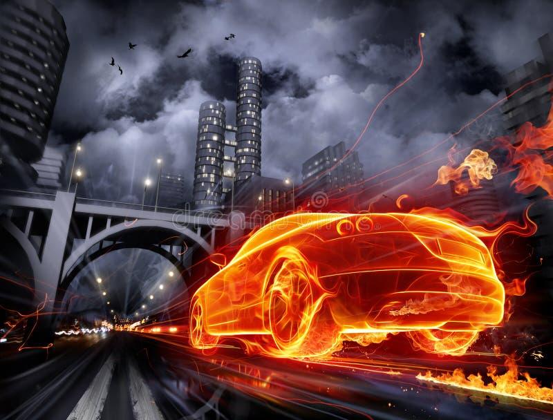 Brennendes Auto lizenzfreie abbildung