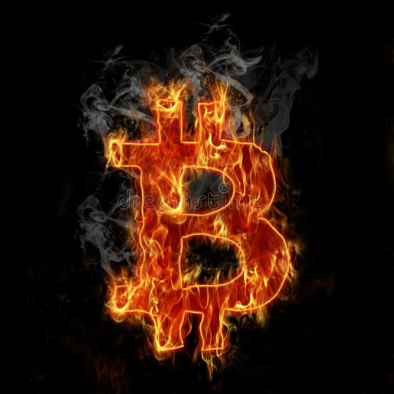 Download Brennendes bitcoin Symbol stock abbildung. Illustration von schwarzes - 106801980