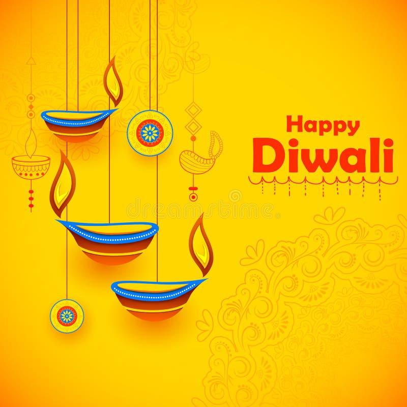 Brennendes diya auf glücklichem Diwali-Feiertagshintergrund für helles Festival von Indien