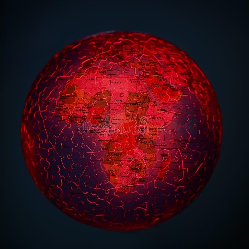 Brennendes Erdkugelpuzzlespiel Apocalipse-Konzept Vulcano und Dürre stockfotografie