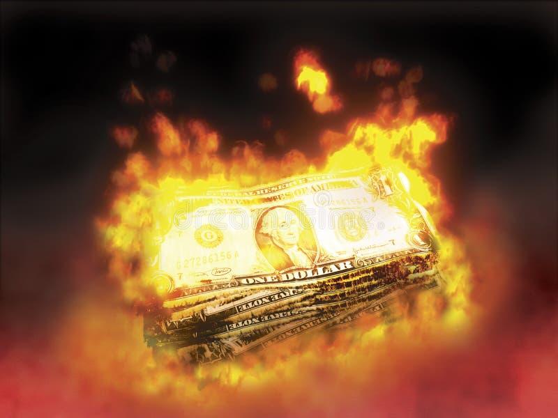 Brennendes Geld lizenzfreie stockbilder
