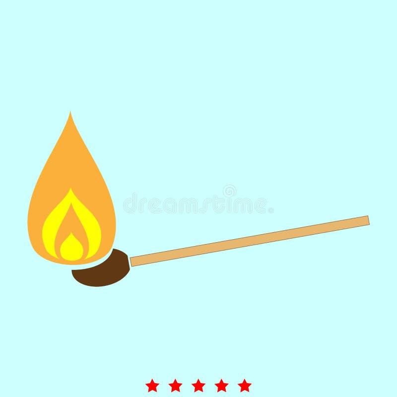 Brennendes Match ist es Ikone lizenzfreie abbildung