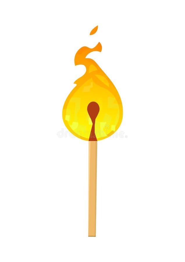 Brennendes Match mit dem Feuer lokalisiert auf weißem Hintergrund lizenzfreie abbildung