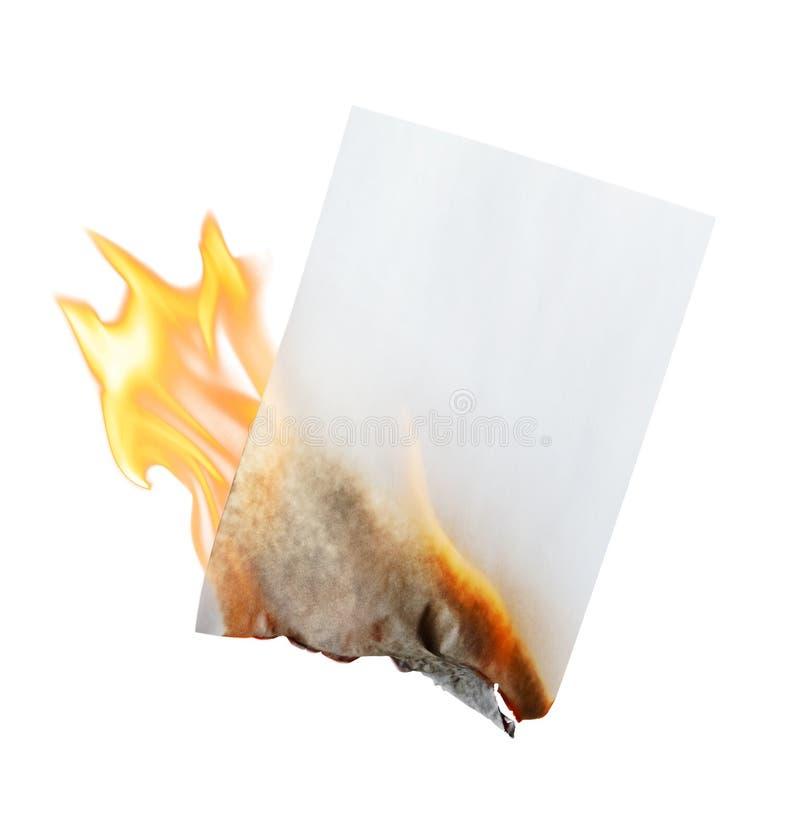 Brennendes Papier stockbild
