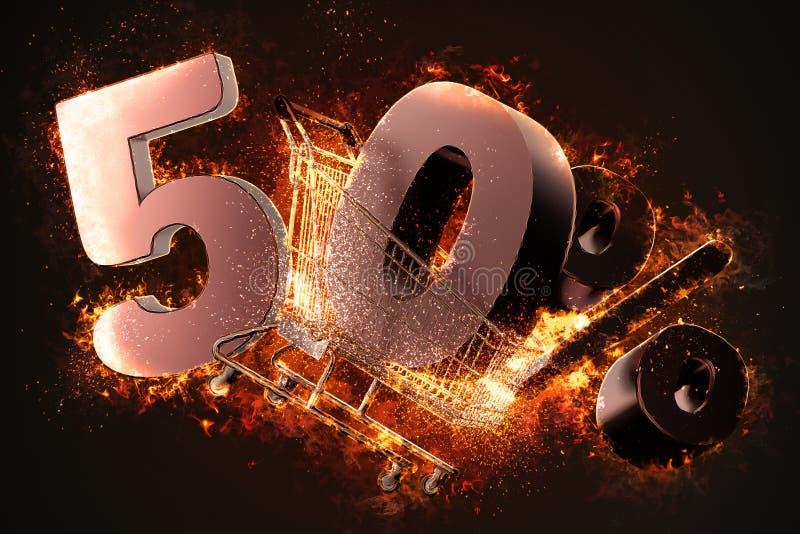 Brennendes Warenkorb- und Prozentsatzrabattzeichen des Rotes fünfzig 3d stock abbildung