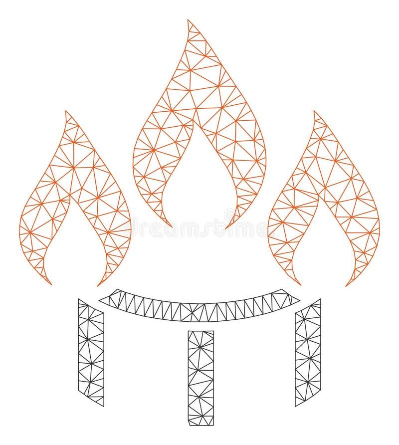 Brenner-Düsen-Feuer-polygonaler Rahmen-Vektor Mesh Illustration lizenzfreie abbildung