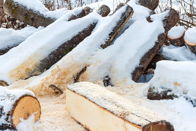 Brennholz auf dem Schnee bedeckt mit Schnee stockbilder