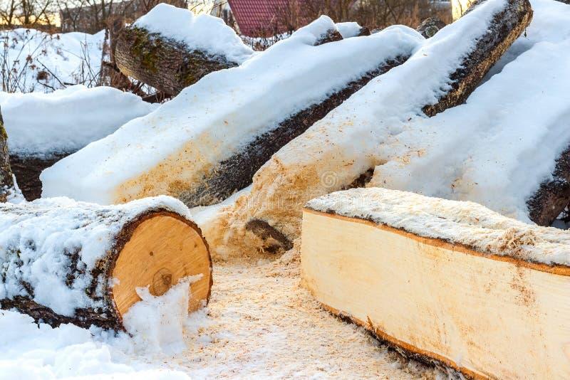 Brennholz bedeckt mit Schnee lizenzfreie stockfotografie