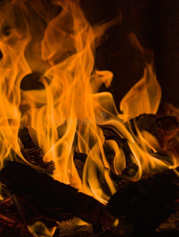 Brennholz, das in der Dunkelheit brennt lizenzfreies stockbild