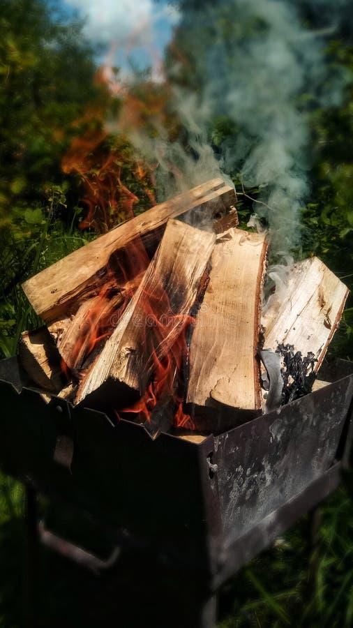 Brennholz, das im Grill brennt lizenzfreie stockfotografie