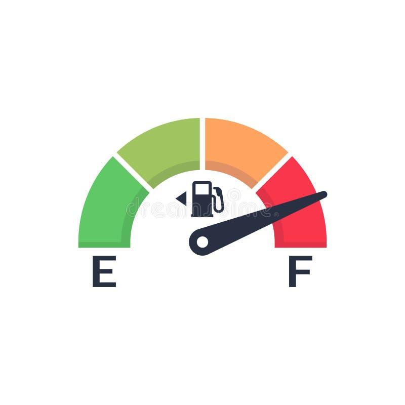 Brennstoffmeter Automobilindikatorschablone Gasmessgerät Lokalisiert auf blauem Hintergrund Autosteuer-Sensor Flaches Design der  lizenzfreie abbildung