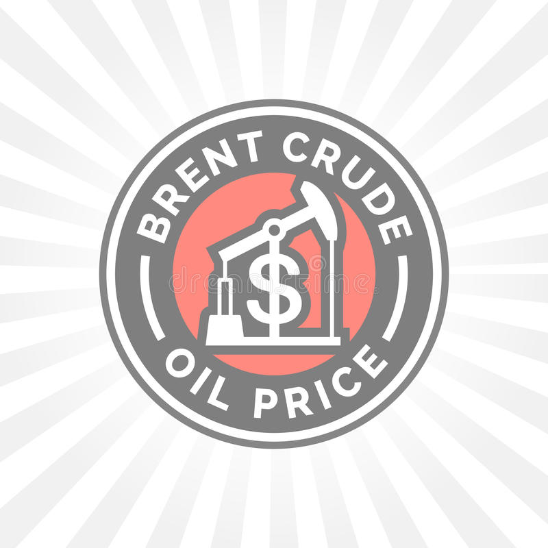 Brent crude oil price icon with dollar symbol badge. Gasoline price sign. Vector illustration royalty free illustration
