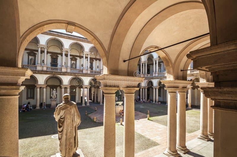 Brera slott i Milan, Italien royaltyfria bilder