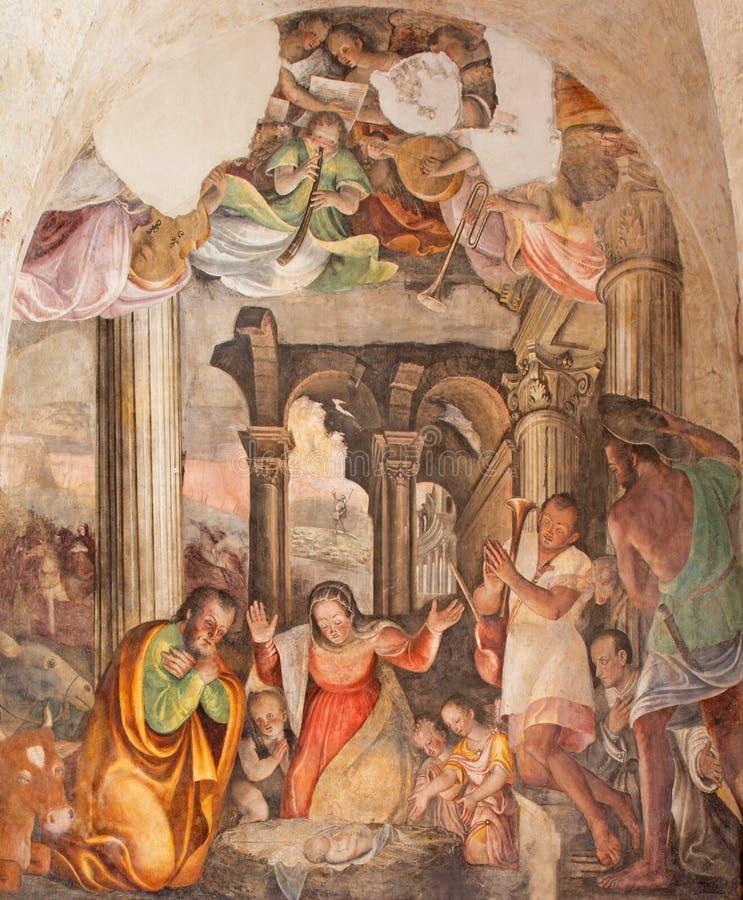 Brescia - η νωπογραφία Nativity από Lattanzio Gambara 1530 - 1574 στο Di Cristo εκκλησιών Chiesa del Santissimo Corpo στοκ εικόνα