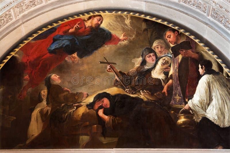 BRESCIA, ΙΤΑΛΙΑ, 2016: Η ζωγραφική ο θάνατος του ST Theresa Avila Chiesa Di SAN Pietro σε Olvieto από το Giovanni Segala στοκ εικόνες με δικαίωμα ελεύθερης χρήσης