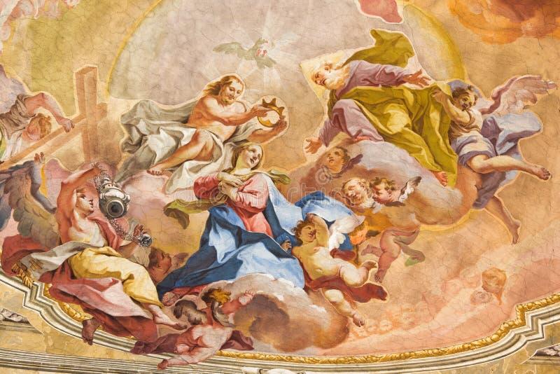 BRESCIA - Coronation of Virgin Mary fresco on vault of presbytery of Sant'Afra church Antonio Mazza e Carlo Innocenzo Carloni. BRESCIA, ITALY - MAY 23 - 2016 stock image