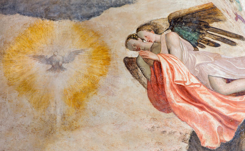 Brescia - The fresco of angels adorating of Holy Spirit in church Chiesa del Santissimo Corpo di Cristo stock photo