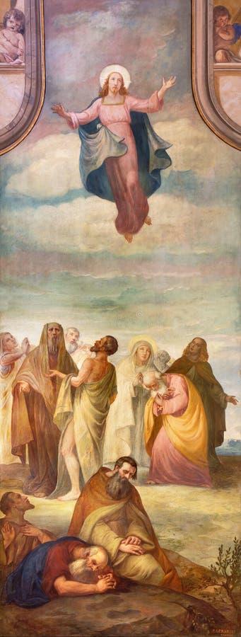BRESCIA, ITALIË, 2016: De fresko van Beklimming van Lord in kerk Chiesa Di Cristo Re door Pietro Servalli stock illustratie