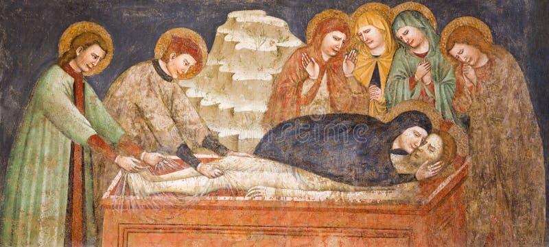 BRESCIA, ITALIË, 2016: De gotische fresko van Begrafenis van Jesus in kerk Chiesa Di San Francesco d& x27; Assisi door onbekende  royalty-vrije illustratie