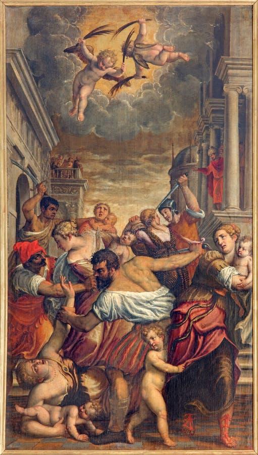 BRESCIA, ITALIË, 2016: De het schilderen Slachting van het Onschuldige in Di Santa Maria del Carmine van kerkchiesa stock illustratie