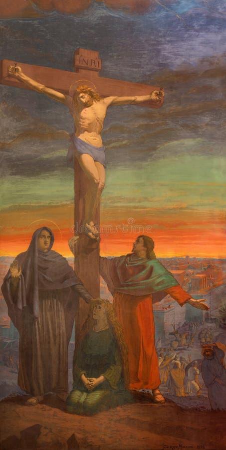 BRESCIA, ITALIË, 2016: De Kruisigingsfresko in Di Christo Re van kerkchiesa met de fresko's door Giuseppe Mozzoni stock illustratie
