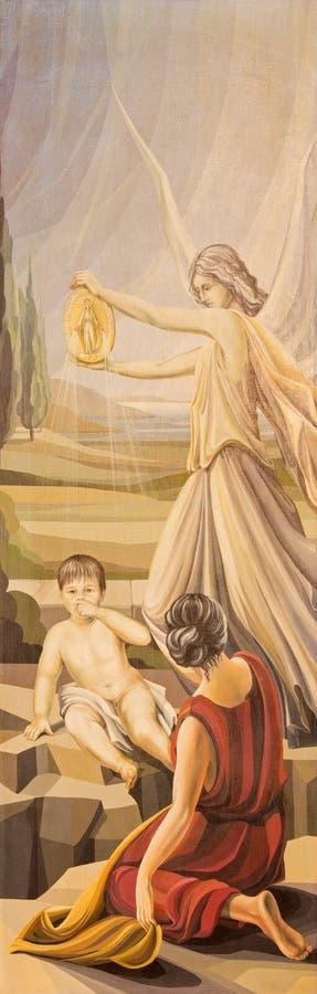 BRESCIA, ITALIË: Het schilderen van beschermengel met het medaillon van Maagdelijke Mary & x28; Triptiek van St Maximilian Kolbe  royalty-vrije illustratie