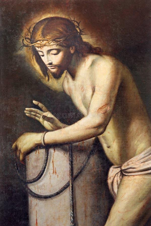 BRESCIA, ITALIË, 2016: Het schilderen van Jesus in band en de Flagellatiekolom in Chiesa Di San Pietro vector illustratie
