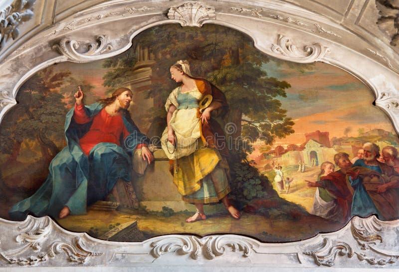 BRESCIA, ITALIË, 2016: Het schilderen van Jesus en Samaritanen bij goed scène in dei Miracoli van Di Santa Maria van kerkchiesa stock foto