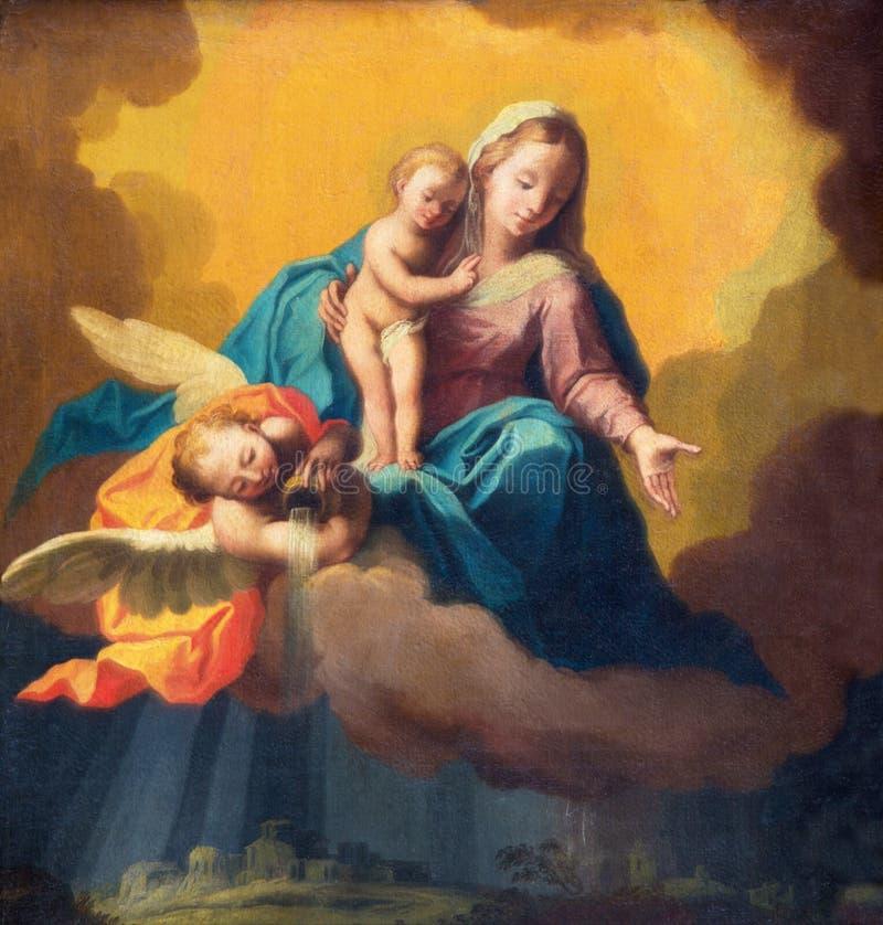 BRESCIA, ITALIË, 2016: Het schilderen van Madonna als beschermer in het onweer over Brescia vector illustratie