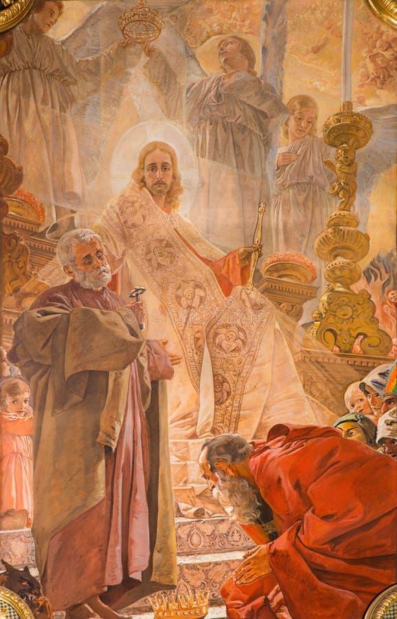 BRESCIA, ITALIË, 2016: Schilderende Christus op de troon van hoofdaltaar van Di Christo Re van kerkchiesa door Vittorio Trainini stock illustratie