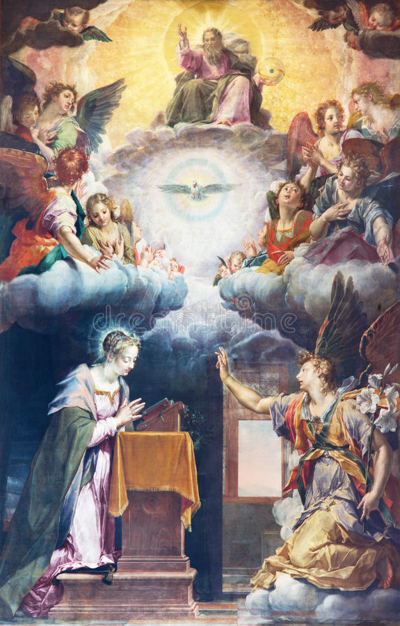 BRESCIA, ITALIA, 2016: La pittura dell'annuncio sull'altare principale dei Di Santa Maria del Carmine di Chiesa della chiesa illustrazione di stock