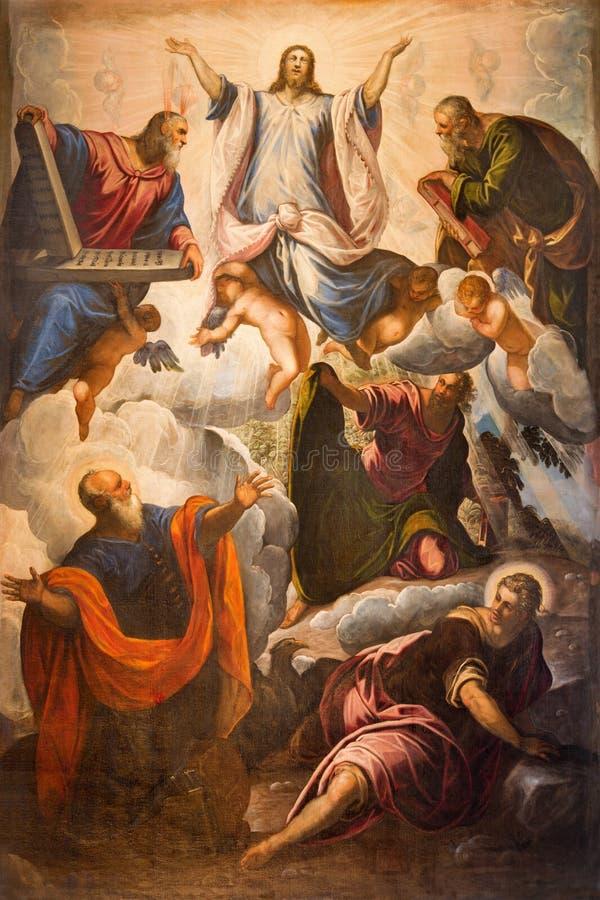 BRESCIA, ITALIA, 2016: La transfiguración de la pintura del señor en los di Angela Merici de Chiesa de la iglesia por Tintoretto imágenes de archivo libres de regalías