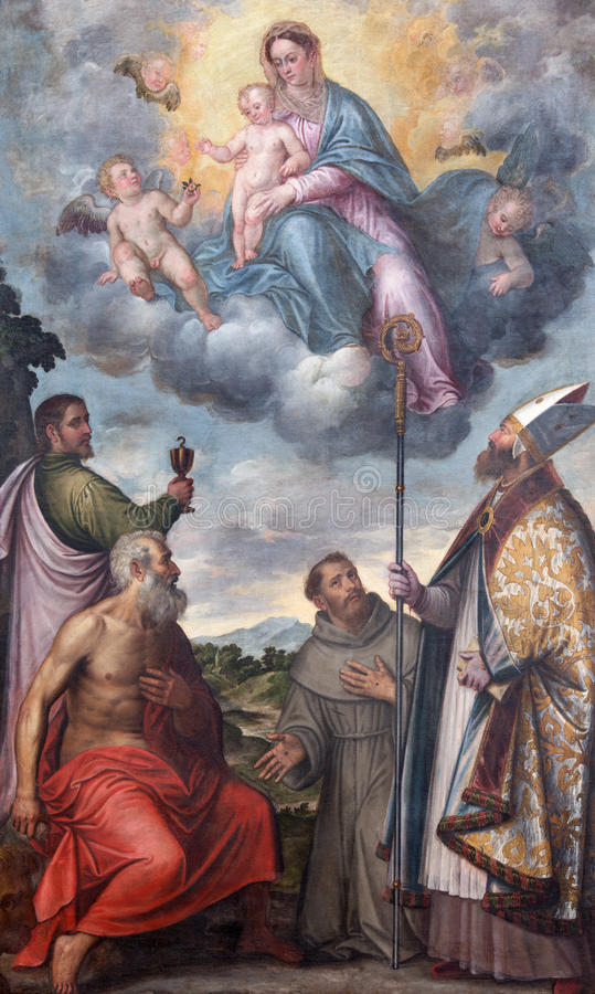 BRESCIA, ITALIA: Madonna de pintura con los Franciscos de Asís de los santos, Juan el evangelista y St Jerome y obispo Honorius foto de archivo libre de regalías