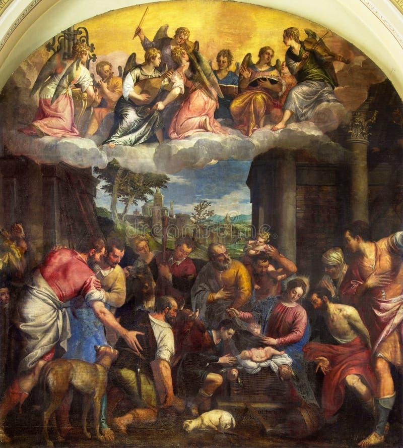 BRESCIA, ITALIA - 23 MAGGIO 2016: L'adorazione della pittura dei pastori nella chiesa di Afra del ` di Sant da Carlo Caliari 1570 fotografie stock libere da diritti