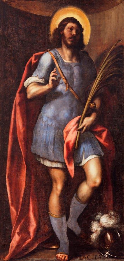 BRESCIA, ITALIA - 23 MAGGIO 2016: Pittura della st Faustino nella chiesa di Afra del ` di Sant da un artista sconosciuto di 18 ce immagine stock