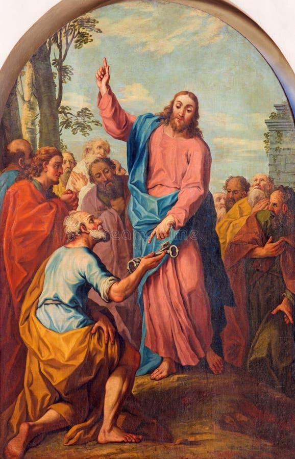BRESCIA, ITALIE, 2016 : Jésus de peinture consignant les clés à Peter image libre de droits