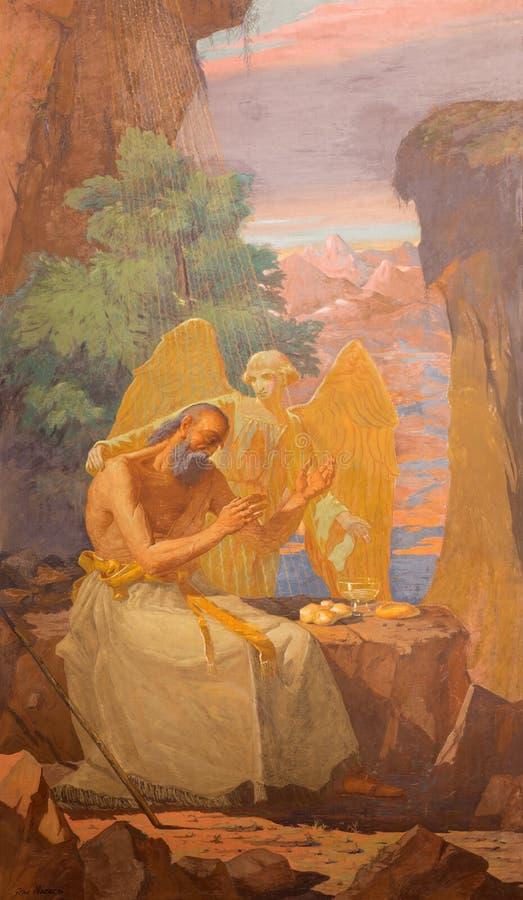 BRESCIA, ITALIE, 2016 : Le fresque du prophète Elijah Receiving Bread et de l'eau d'un ange illustration de vecteur