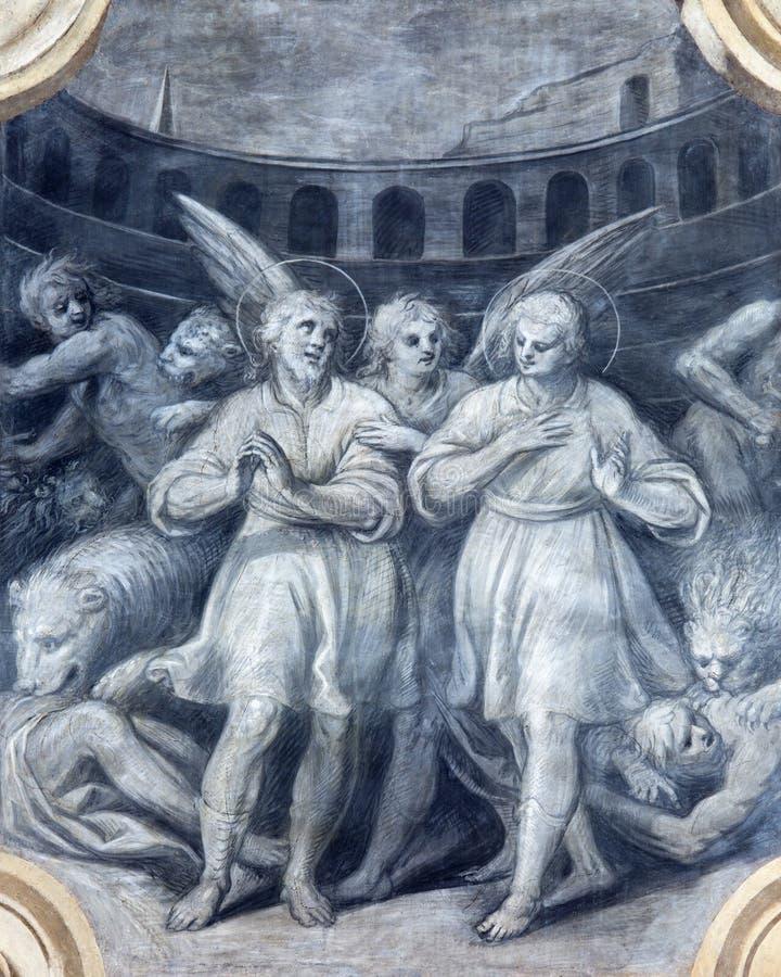 BRESCIA, ITALIE, 2016 : Le fresque monochromatique des premiers martyres chrétiens parmi les lions dans le colosseum images stock