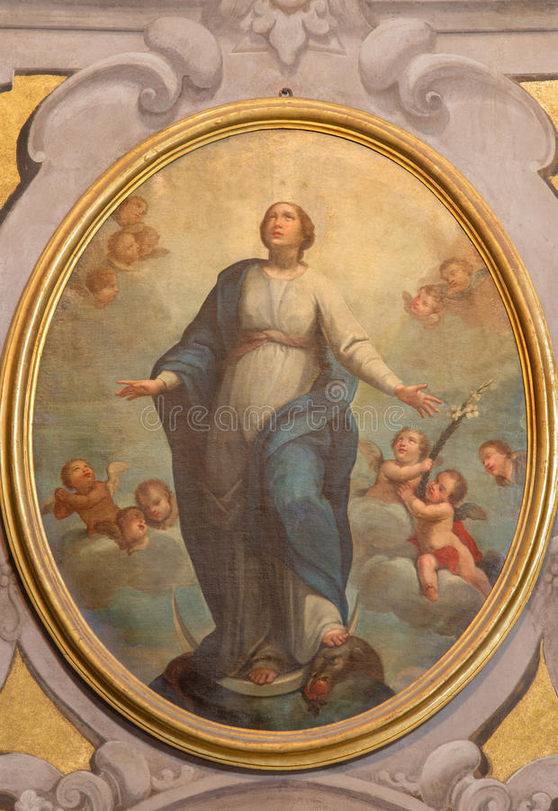 BRESCIA, ITALIE - 21 MAI 2016 : La peinture de la conception impeccable en Di Santa Maria della Carita de Chiesa d'église photos libres de droits