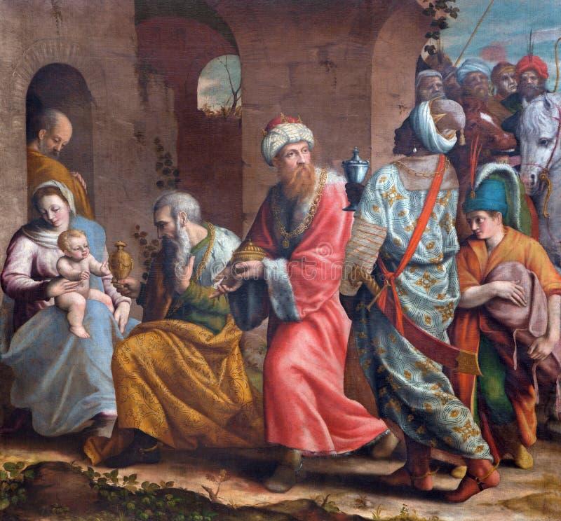 BRESCIA ITALIEN, 2016: De tre vise männenmålarfärg i kyrkliga Chiesa del Santissimo Corpo di Cristo vid okända artis av 16 cent arkivfoto