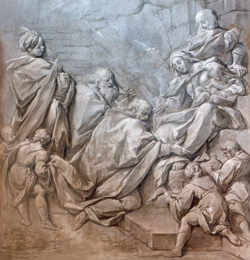 BRESCIA ITALIEN, 2016: Den monochromatic freskomålningen av tre de tre vise männen i kyrkliga Chiesa di Santa Maria del Carmine vektor illustrationer