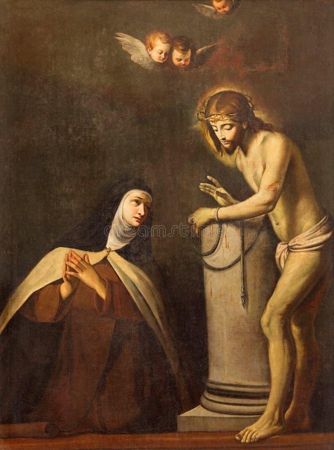 BRESCIA, ITALIEN, 2016: Die Malerei der Erscheinung von Jesus in der Bindung zu St. Theresia von Avila in Chiesa di San Pietro lizenzfreie abbildung