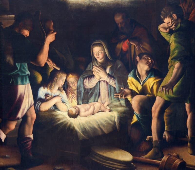 BRESCIA, ITALIEN, 2016: Die Malerei der Geburt Christi in Di Cristo Kirche Chiesa Del Santissimo Corpo durch Pier Maria Bagnadore lizenzfreie stockfotos