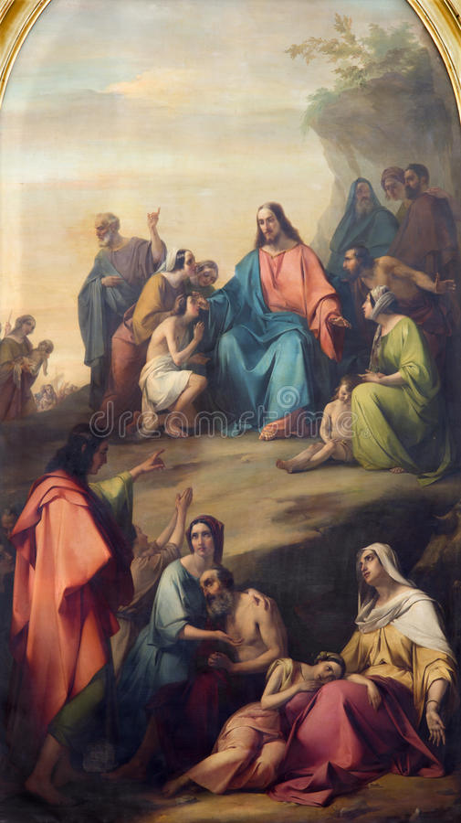 BRESCIA ITALIEN, 2016: Flåsa av predikanen av Jesus i duomoen Nuovo av Michelangelo Grigoletti arkivfoto
