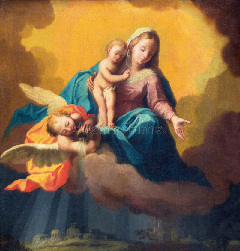 BRESCIA ITALIEN, 2016: Målning av Madonna som förmyndaren i stormen över Bresciaen royaltyfria foton