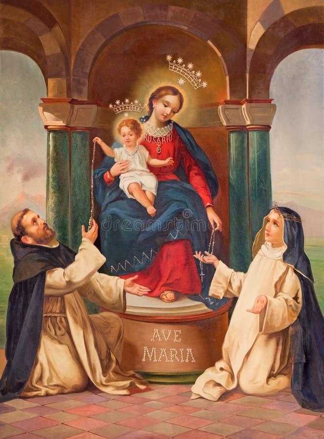 BRESCIA ITALIEN, 2016: Målningen av Madonna med carmelitansna St John av korset och Sten Theresia av Avilla royaltyfri fotografi